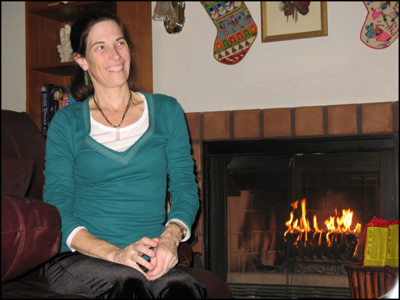 Melissa by the fireplace